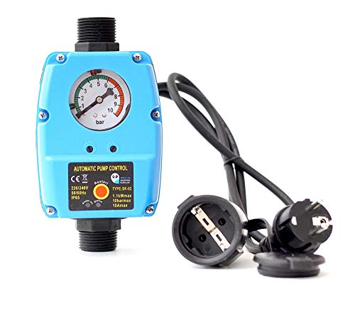 Pumpensteuerung SK-02 Druckwächter für Pumpe Gartenpumpe Hauswasserwerk mit integrierten Trockenlaufschutz und Kabel...