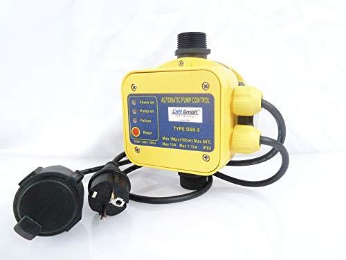 CHM GmbH Automatische Pumpensteuerung mit Trockenlaufschutz und Manometer, Drucksteuerung, Druckschalter für Pumpe bis...