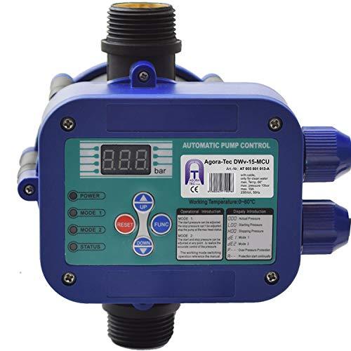 Agora-Tec Pumpen Steuerung Druckschalter Durchflusswächter AT-DWv-15-MCU verkabelt (Abschalt Druck einstellbar) mit...
